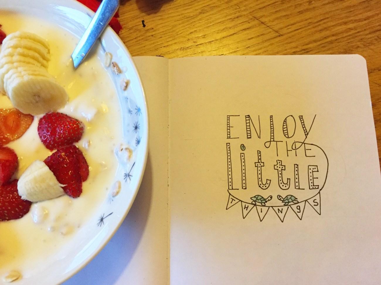 Maandagochtend ga ik mijn eetgewoonten aanpassen. Ik ontbijt met yoghurt en muesli