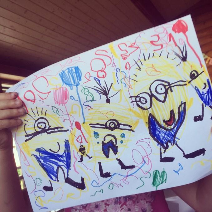Eva tekent een heerlijke minions party!! EIgenlijk voor Tygo die zijn zwemdiploma heeft gehaald, maar dan besluit ze hem aan de jarige Ian te geven (sorry Caroline)