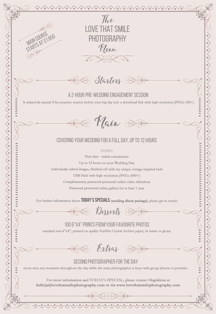 Pricing Menu - Love That Smile Photography by Magdalena Mahdy