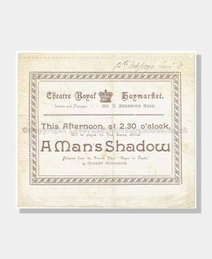 1890 A MAN'S SHADOW Theatre Royal Haymarket