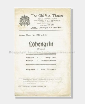 1926 LOHENGRIN Old Vic