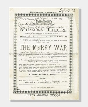 1882 THE MERRY WAR Alhambra Theatre London
