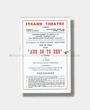 1952 AND SO TO BED Strand Theatre