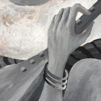 black and white mural of a woman's hand playing a lute