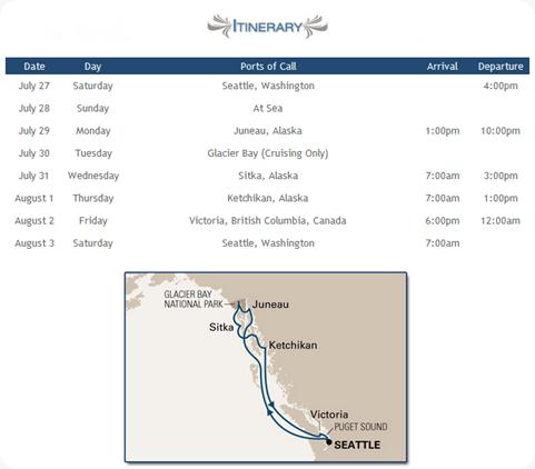 Great Alaskan Marathon Cruise Itinerary