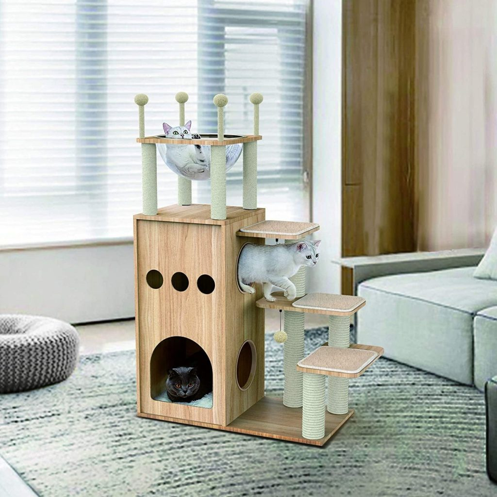 A modern cat castle with numerous features