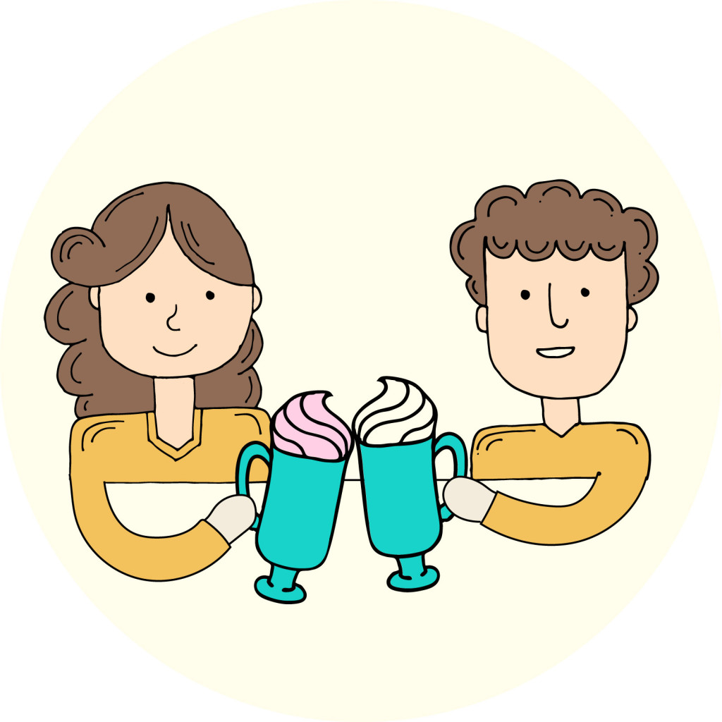 Cartoon illustration of a male and female toasting whipped cream topped drinks.