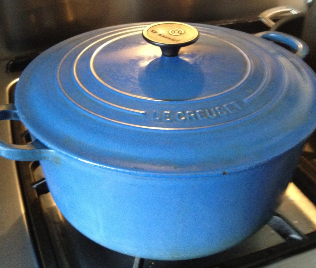 Blue Le Creuset pot.