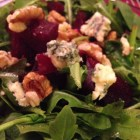 Baby arugula, roasted beets, toasted walnuts and English Stilton