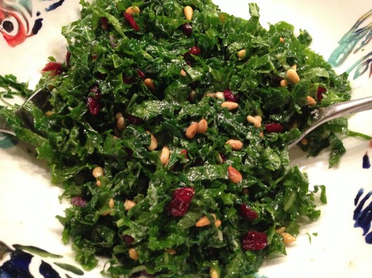 Kale salad with cranberries and pine nuts