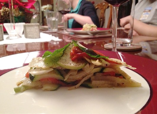 The  torta with red bell pepper, zucchini, fennel and mint.