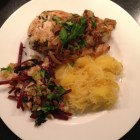 Spaghetti squash with sauteed chicken and shiitake mushrooms, and a side of beet greens.