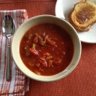 Chunky tomato soup and grilled cheese sandwich as a Saturday afternoon lunch.