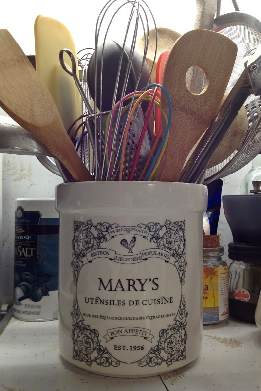 Custom monogrammed utensil caddy for the home chef and her kitchen.