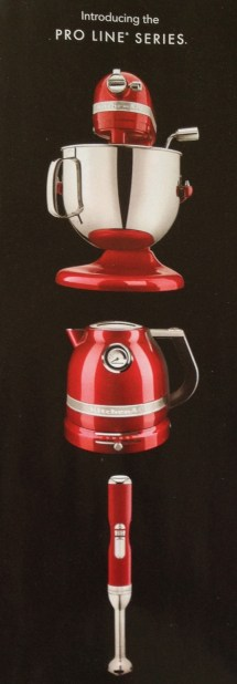 Strip ad of Kitchen Aid appliances in shiny red.