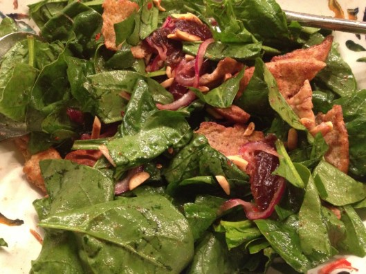 Spinach salad with dates & almonds.