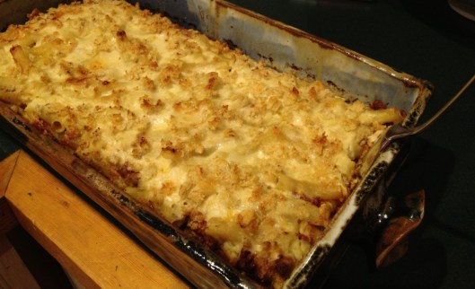 Greek casserole pastitsio combines béchamel, pasta, ground lamb, tomato sauce, cheese, cinnamon and nutmeg.