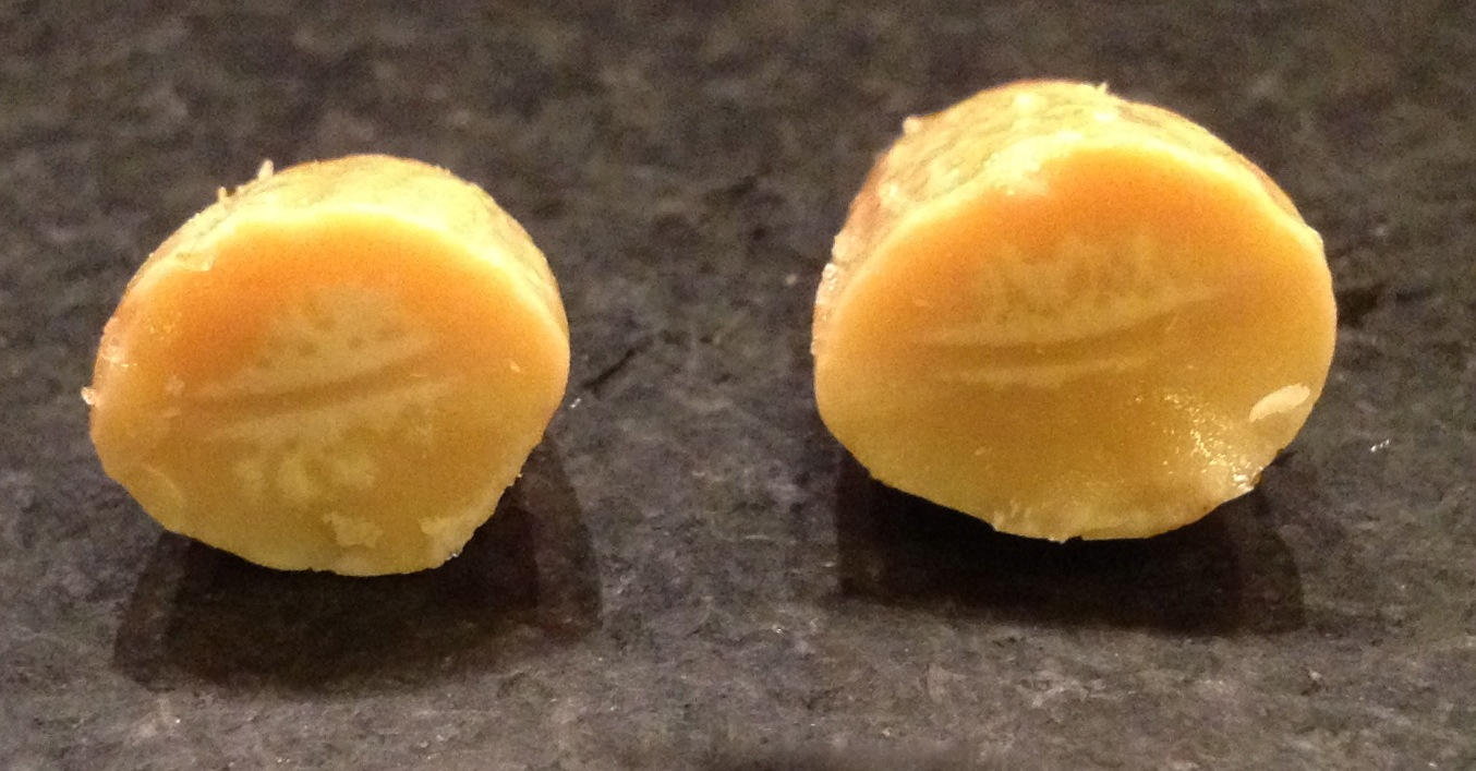 Roasted almond, cut in half.