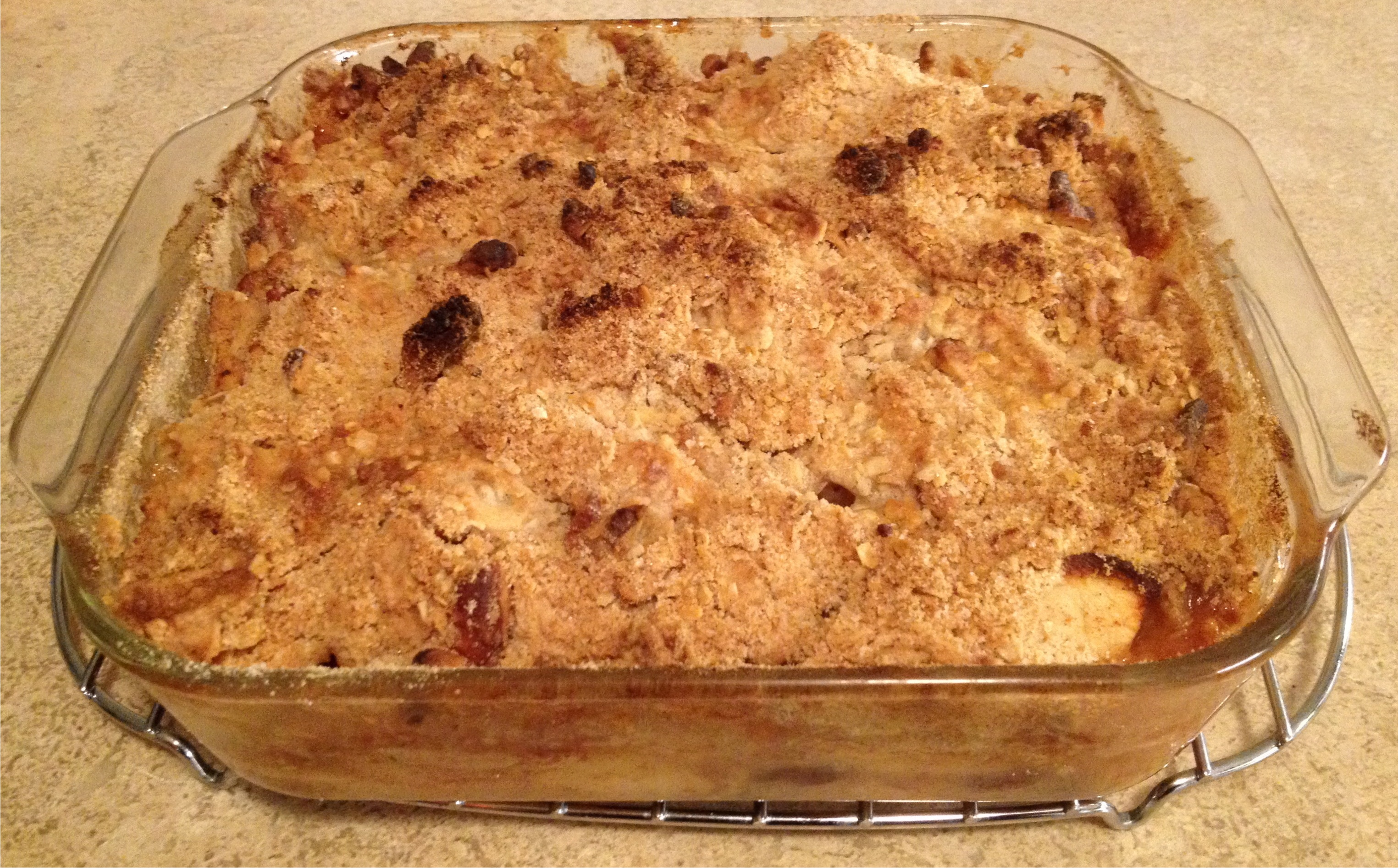 Apple crisp just out of the oven.