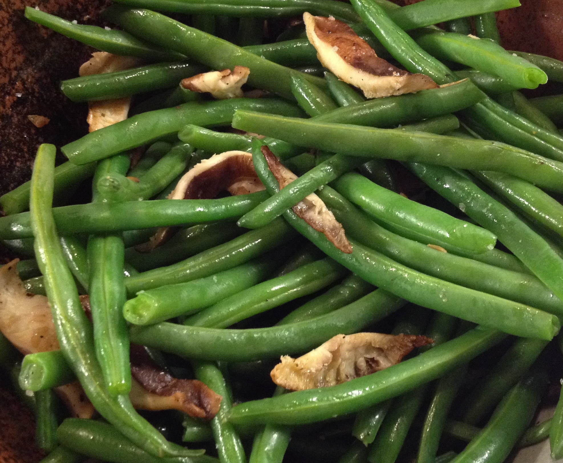 Green beans with shittake mushrooms.