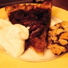 Pecan pie, whipped cream and an amazing chocolate chip cookie topped with a little salt.
