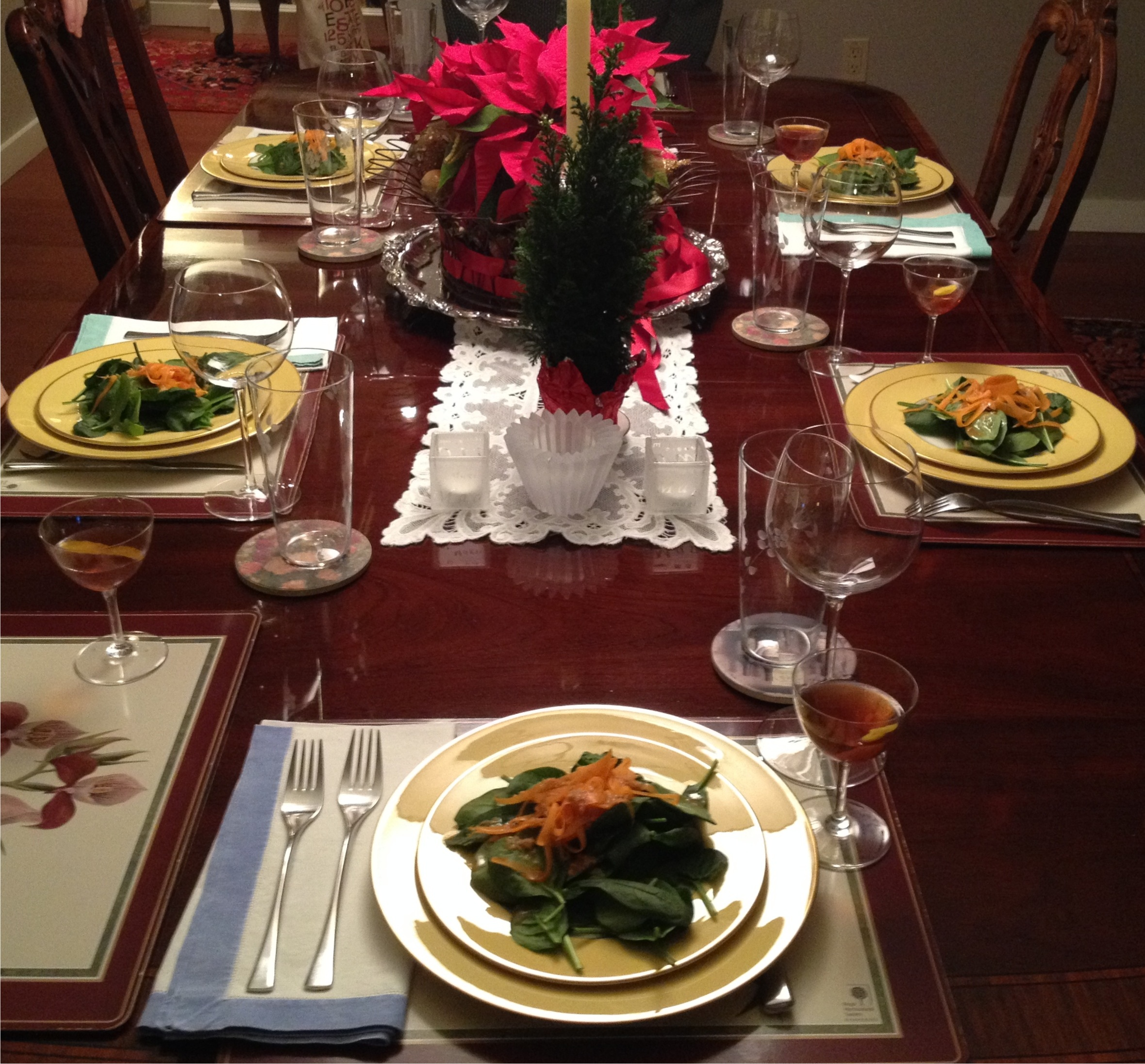 The birthday dinner table with the spinach salad.