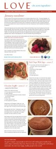 LOVE - the secret ingredient newsletter with Valentine's Day recipes.