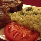 Asparagus risotto with lamb chops.