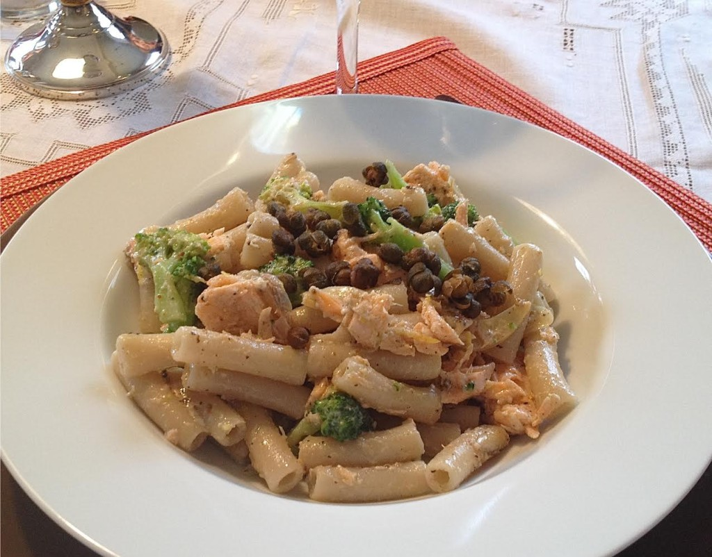 Pasta with salmon and broccoli topped with fried capers-single serving.