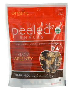 Peeled Snacks apple APLENTY trail mix package.