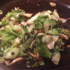 Escarole currents pine nuts and garlic.