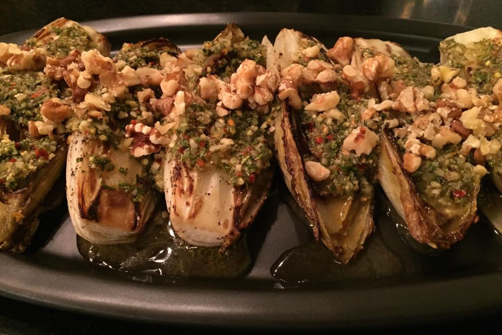 Chimichurri roasted endive - finished dish.