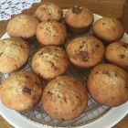Loacker Banana nut muffins - finished on a plate.