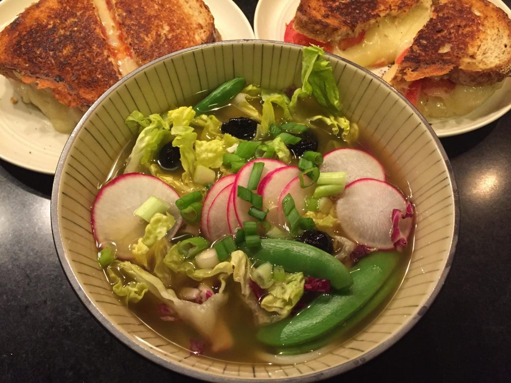 Savory Choice Veg Pho with sandwiches.