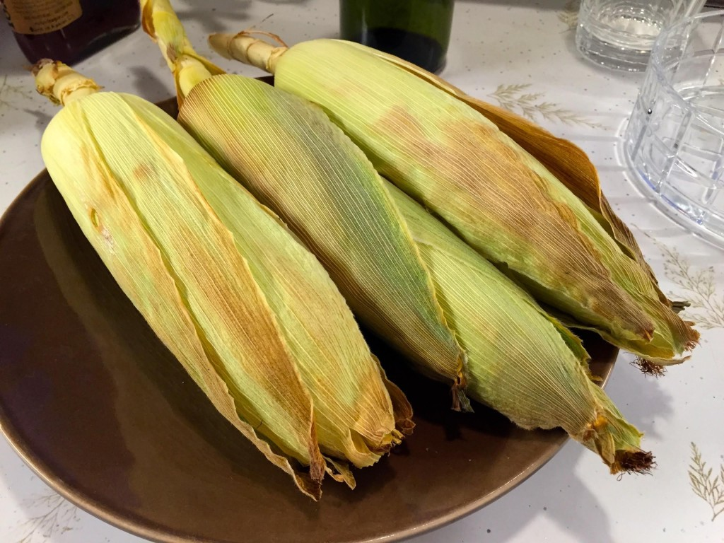 Corn on the cob out of the oven.