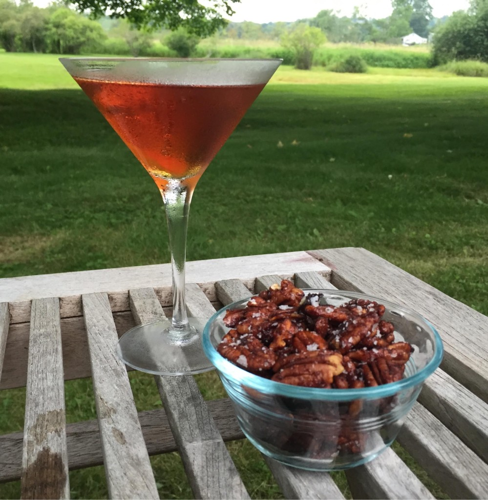 Rufus Teague spice nuts with a  cocktail.