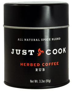 Just Cook Foods Herbed Coffee Rub in a black package.