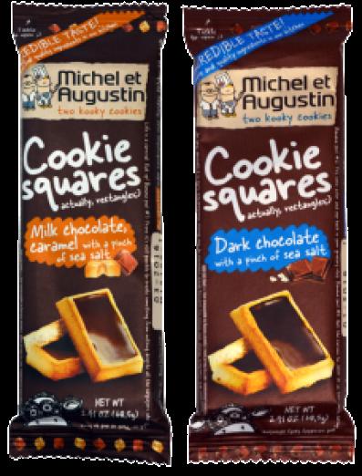 Michel et Augustin Cookie Squares in dark chocolate and milk chocolate caramel flavors.