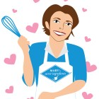 Illustration of a cook holding a whisk with hearts around.