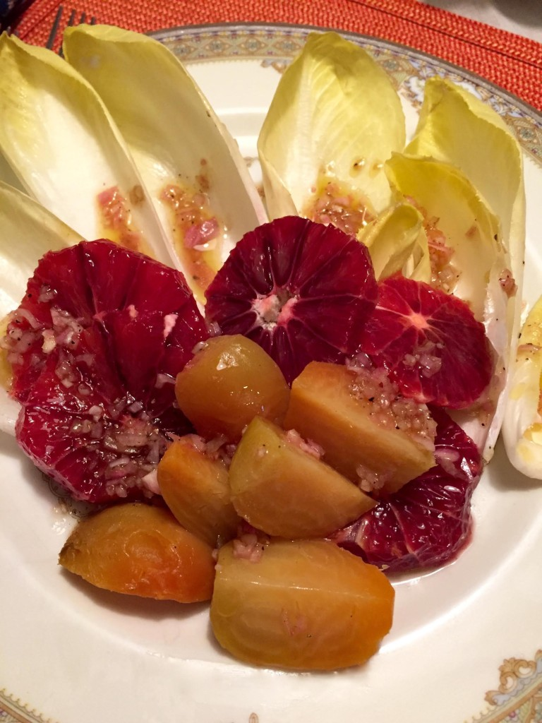 Perfect Salad of Endive, Blood Oranges and Golden Beets.