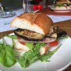 Grilled Eggplant, Prosciutto, Tomato & Arugula Sandwich.