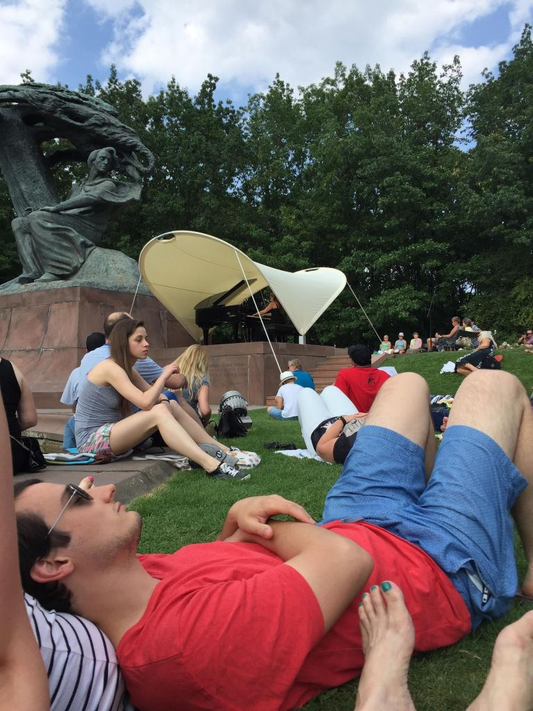 Listening to the free Chopin concert in Lazienki Park, the largest park in Warsaw.