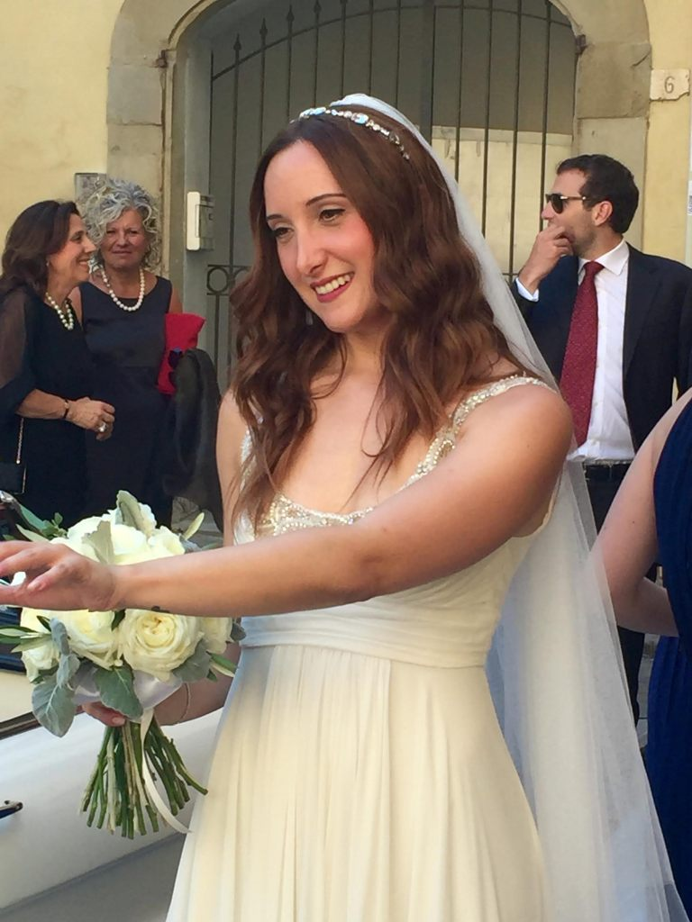 Bianca Bonechi on her wedding day, looking like a Roman goddess.