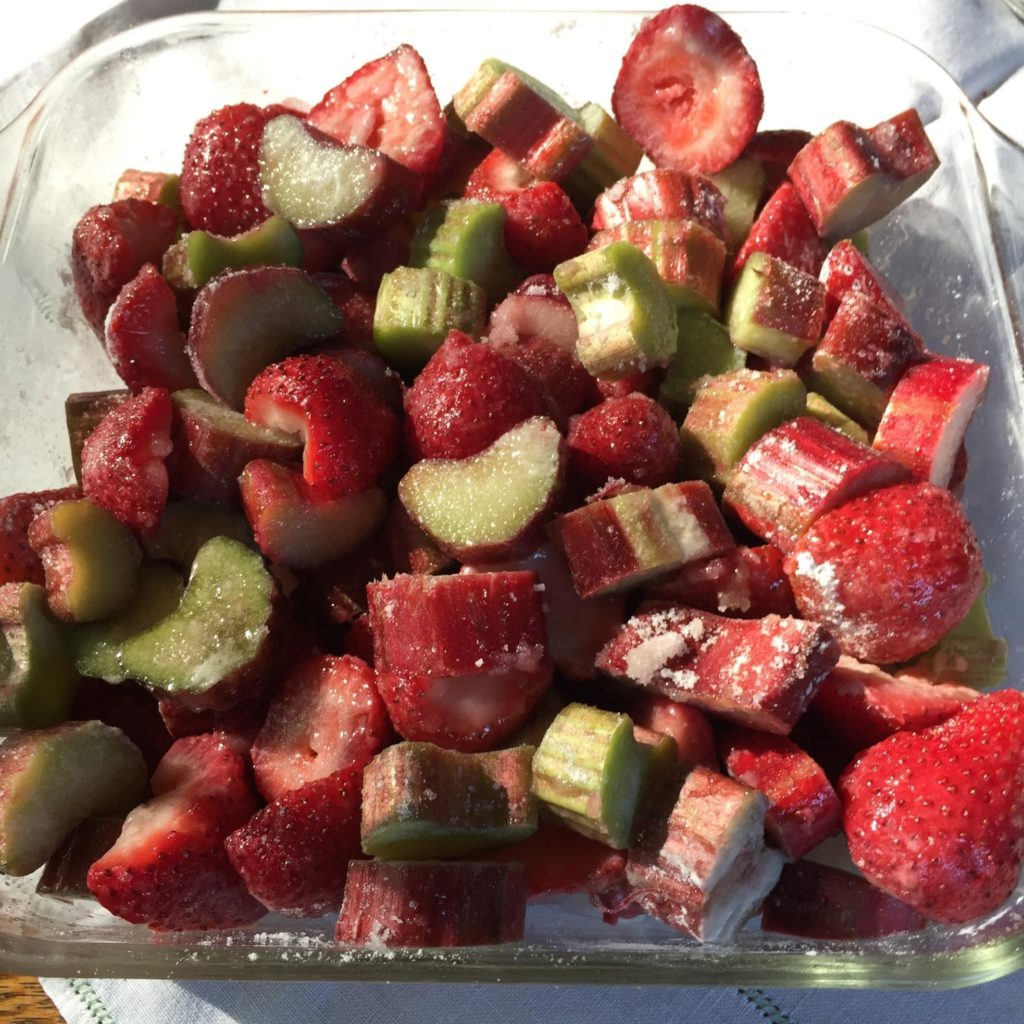 Strawberry and Rhubarb Crisp - raw fruit