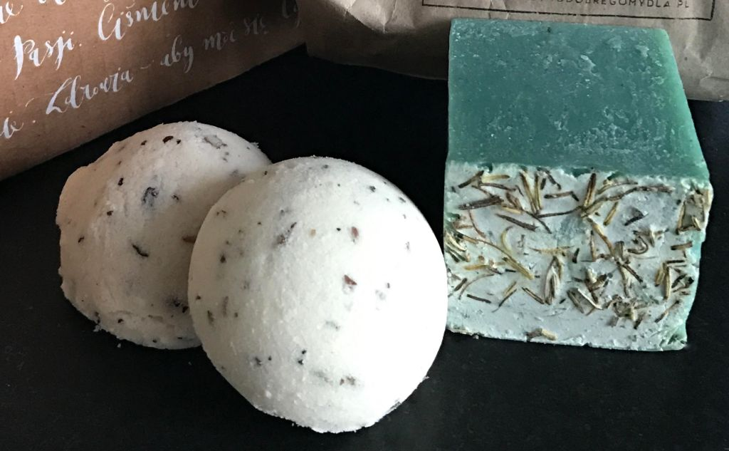 Close-up shot of handmade soaps and bath bombs.