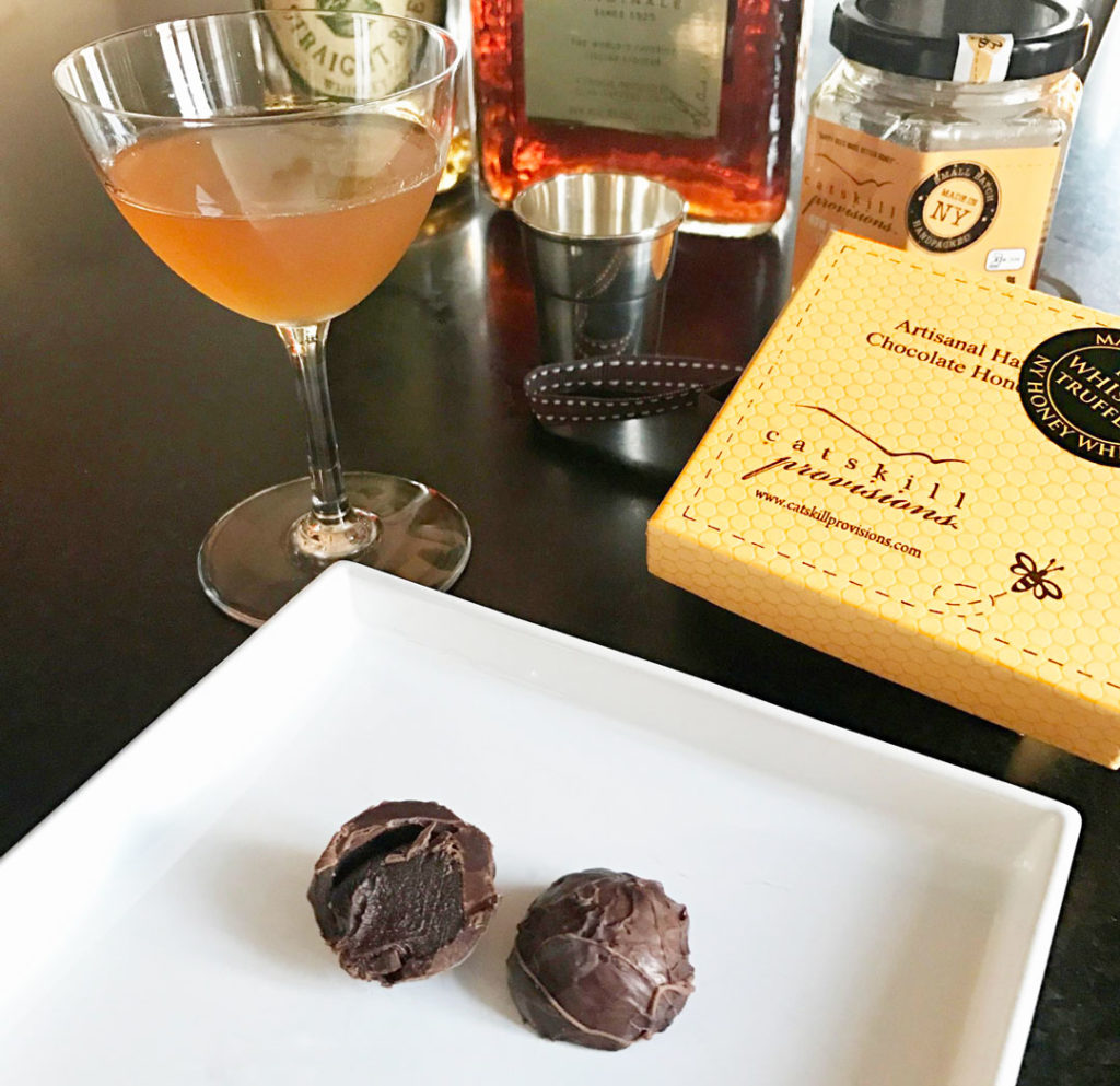 Catskill Provisions NY Honey Whiskey Truffles - cut in drink environment.
