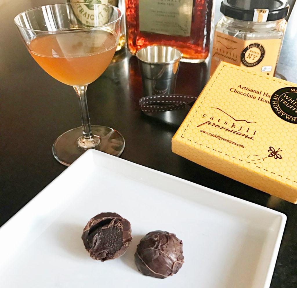 Catskill Provisions NY Honey Whiskey Truffles - cut in drink environment.