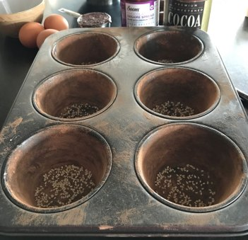 Soom Chocolate Tahini cakes cocoa dusted baking pans.