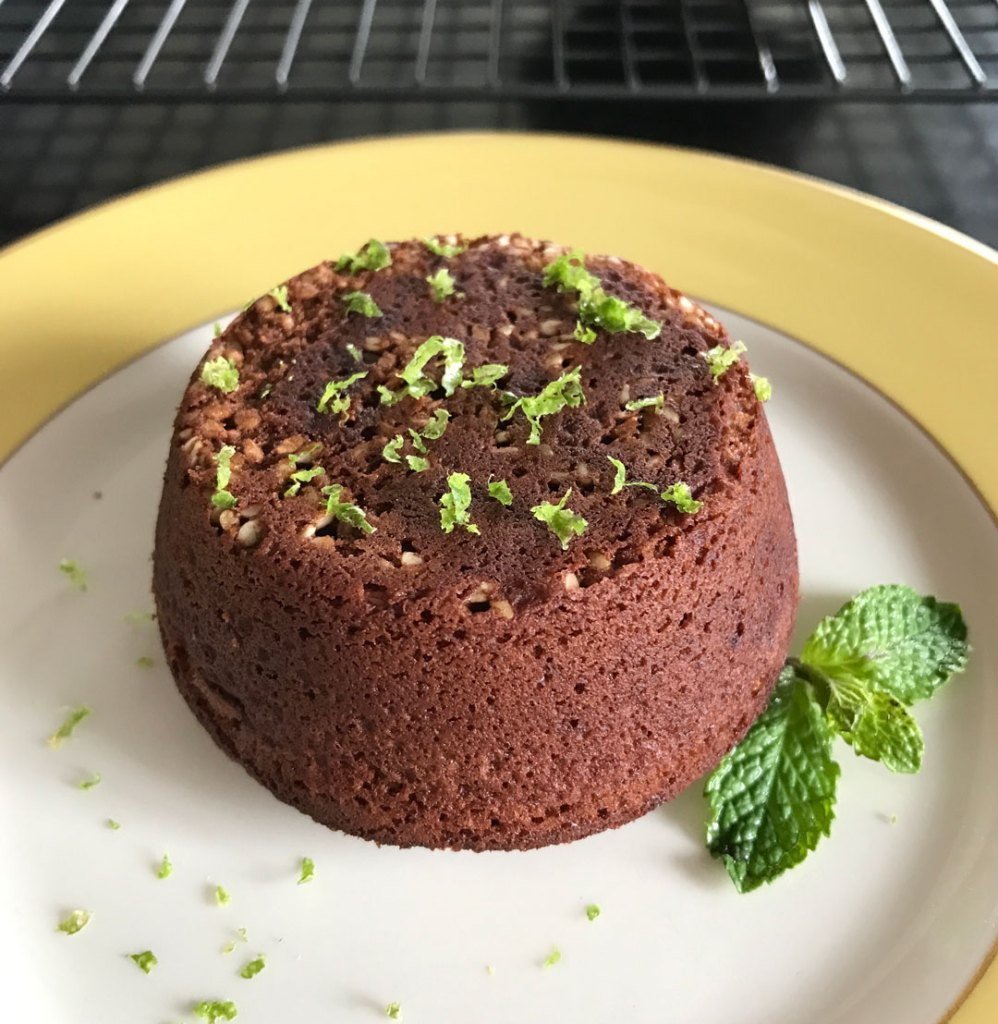 Soom chocolate tahini cake with lime zest.