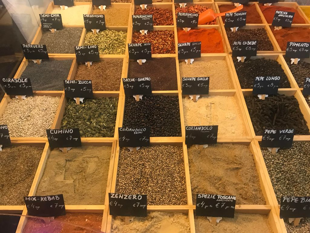 Arezzo International market - spices for sale.